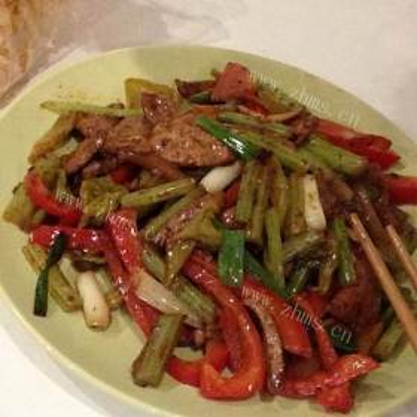 大葱炒猪肝