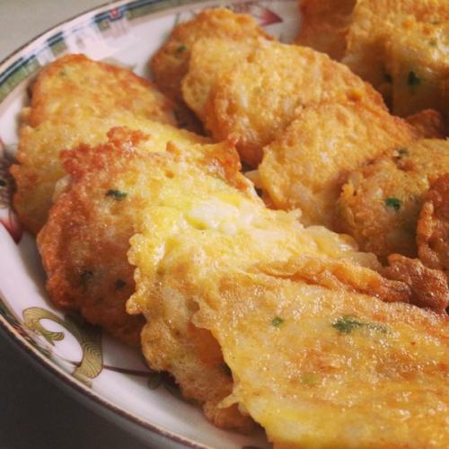 天然茄汁蟹味菇鸡蓉饼