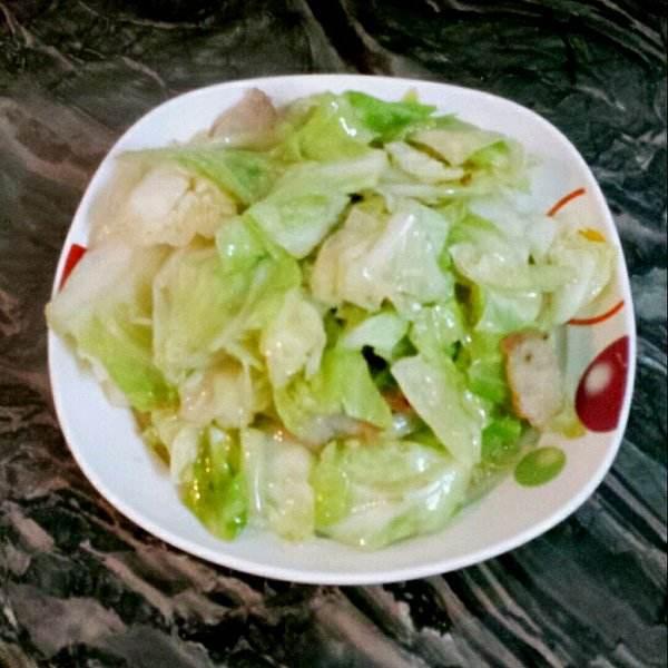 虾皮炒包菜