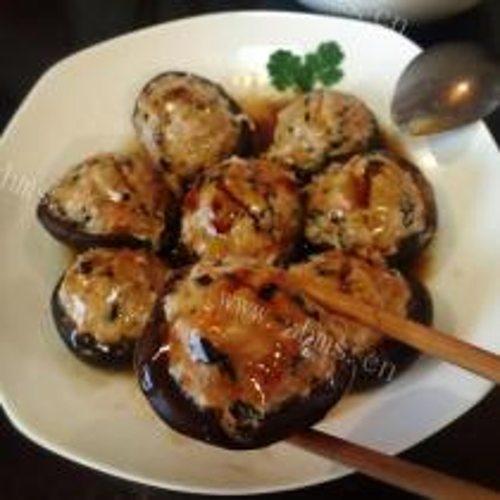 猪肉酿冬菇扒菜胆