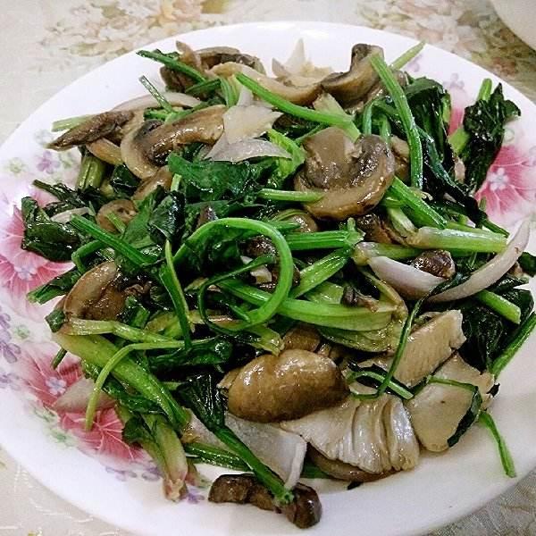 杏鲍菇炒菠菜