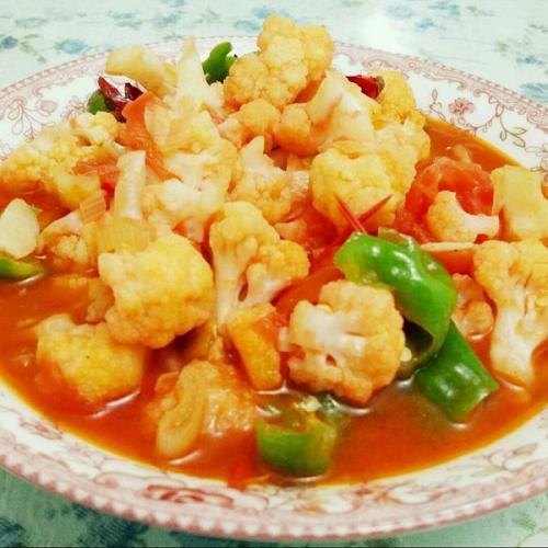 西红柿烧花菜