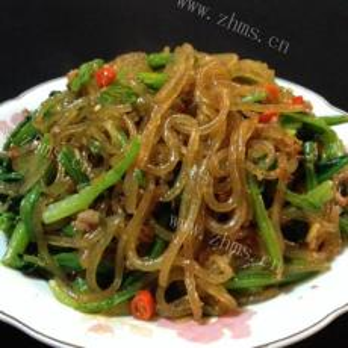 虾酱粉丝炒菠菜