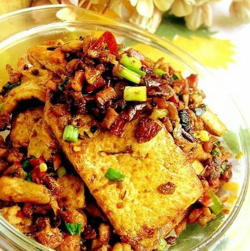 香葱肉末干烧老豆腐