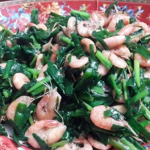 青瓜韭菜炒虾