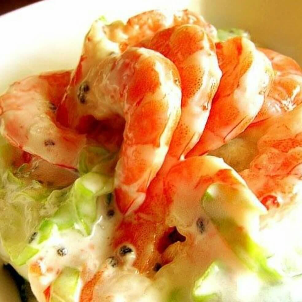 美味火龙焰虾蔬菜沙拉