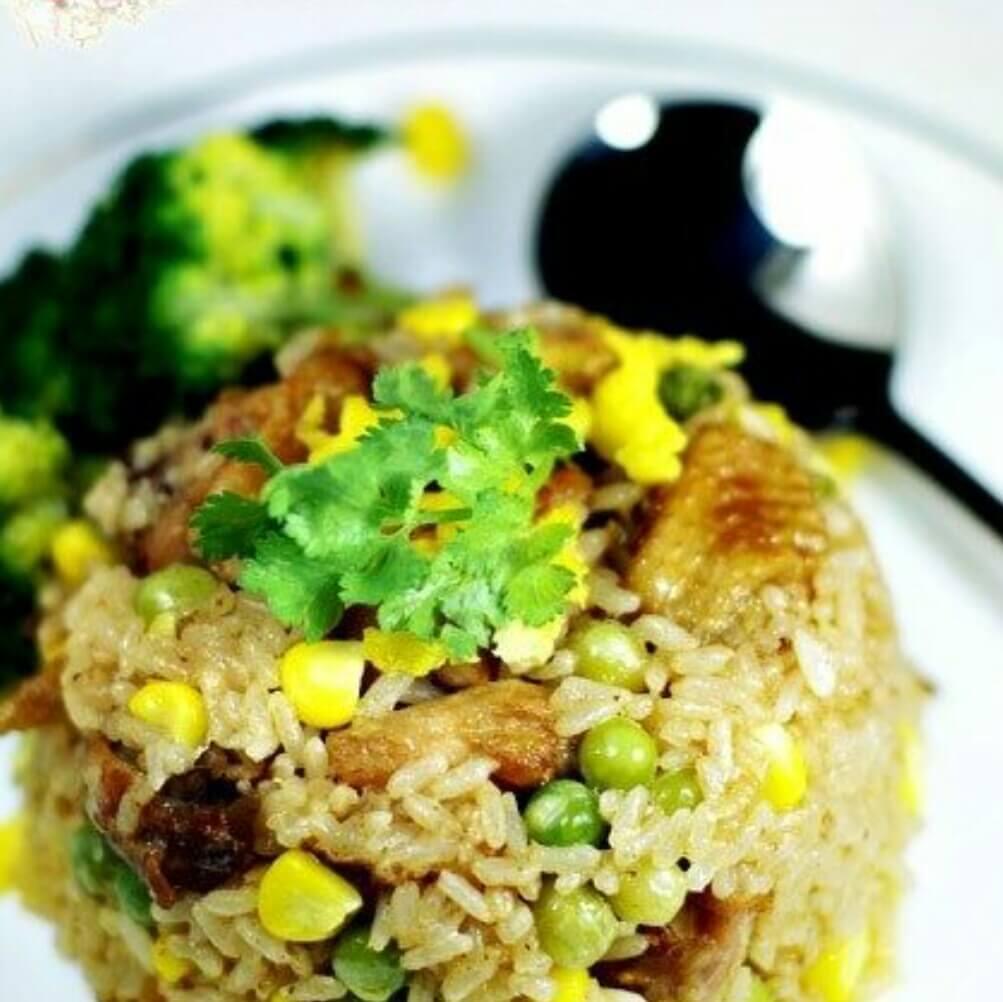 彩蔬烩鸡油饭