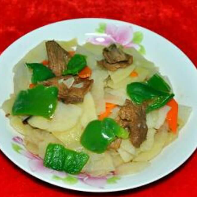 午餐肉炒菜芯