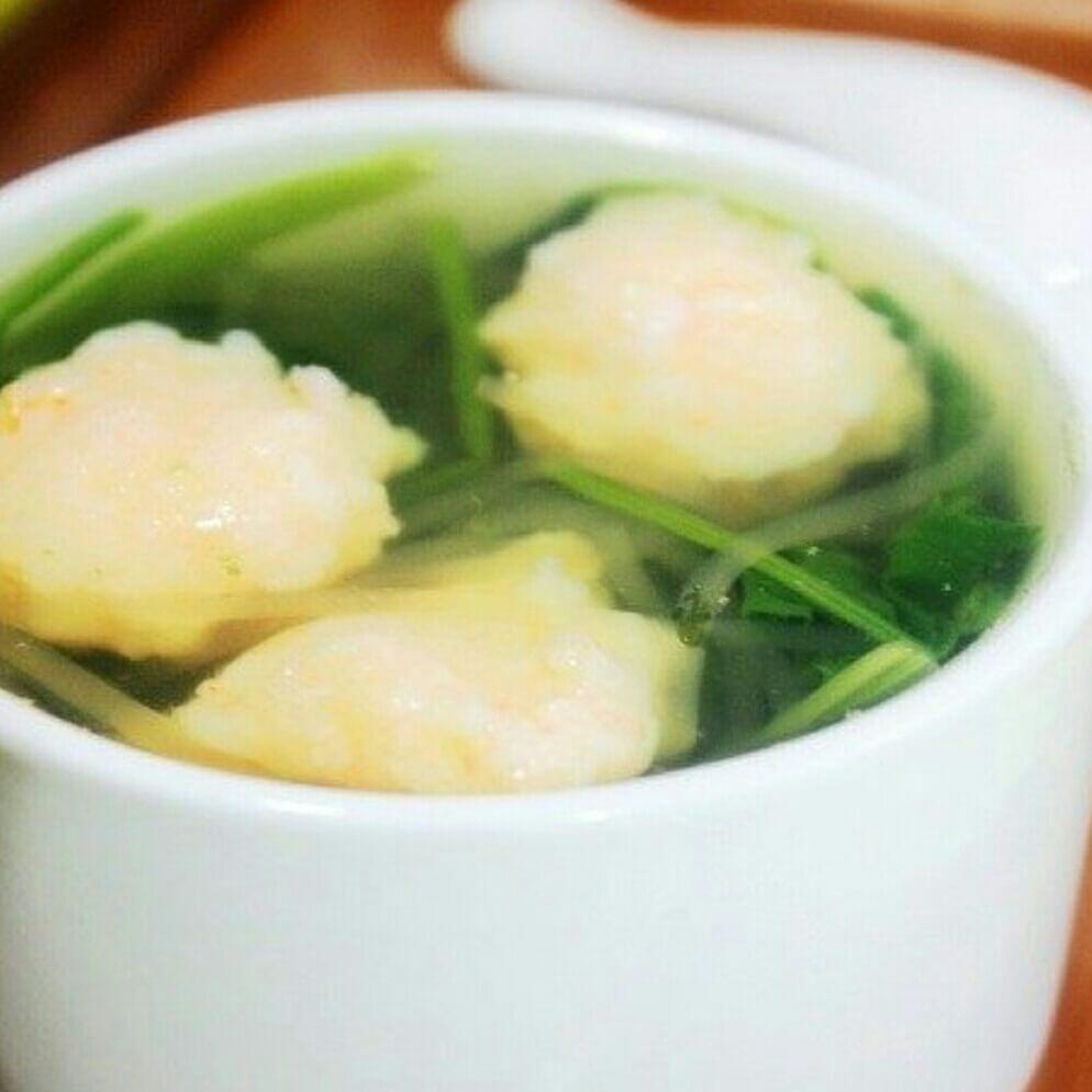 无油版鲜虾滑菠菜汤