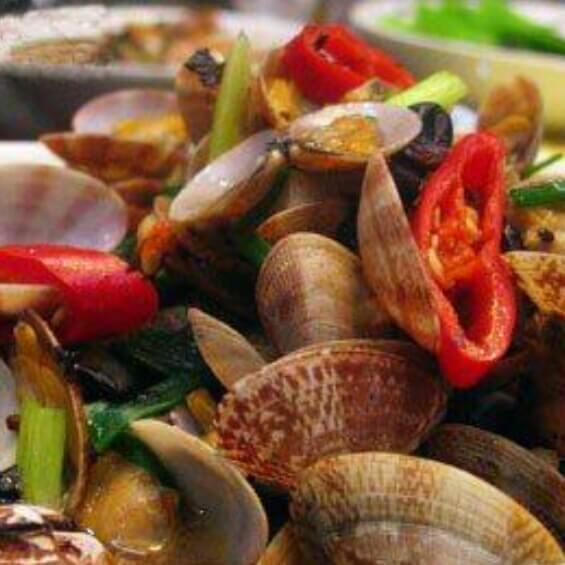 姜葱炒文蛤