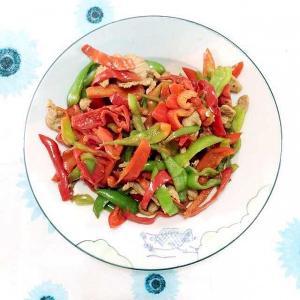 双椒炒掐菜