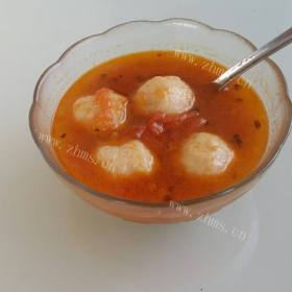 西红柿鲜虾鱼丸汤