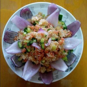 青瓜虾仁腊肠炒饭