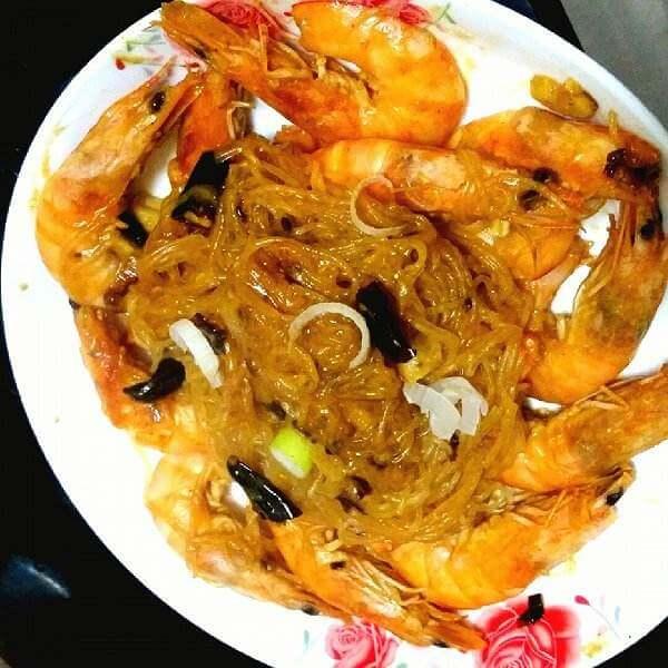 杂菜红咖哩虾