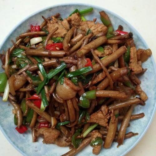 猪肝炒茶树菇