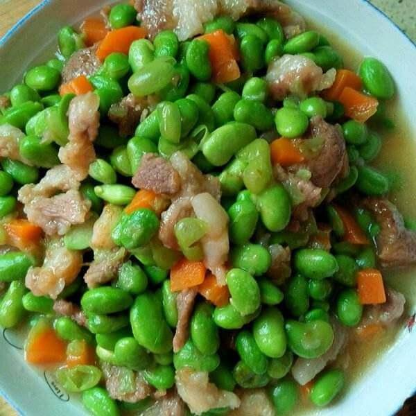 豆干肉丁炒毛豆
