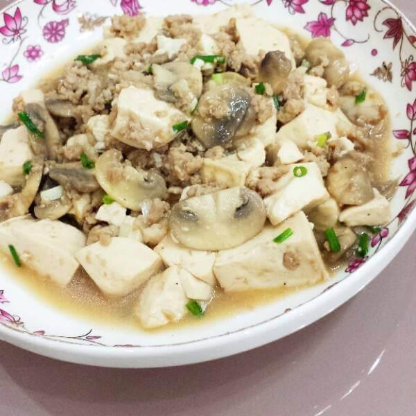 蘑菇肉末豆腐