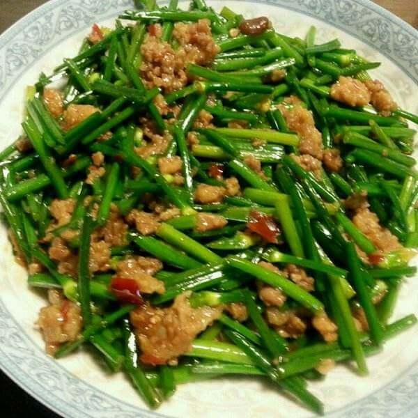 虾米炒蒜苔