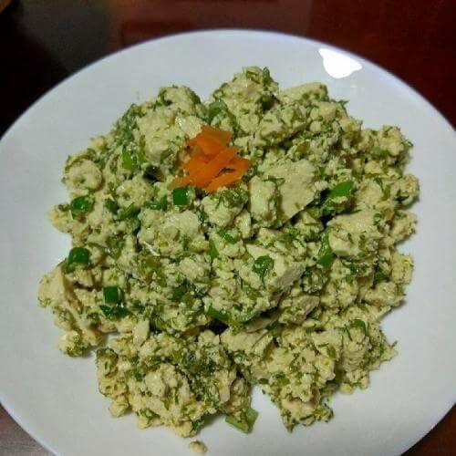 韭菜花炒藦芋豆腐