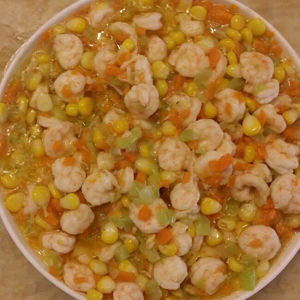 甜玉米炒虾仁
