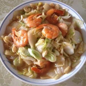 白菜炒大虾