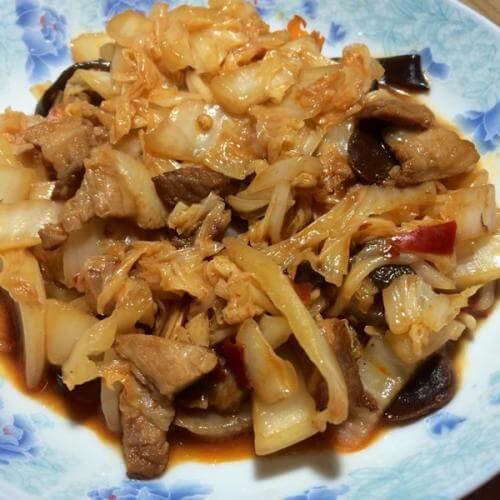 肉片白菜炒木腐