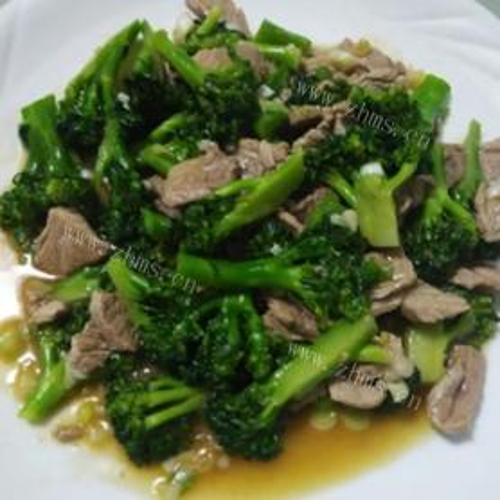西兰花茎炒肉片