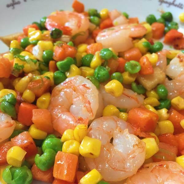 玉米青豆炒虾仁