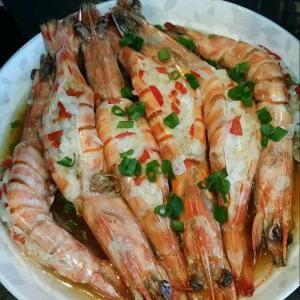 蒜香蒸活虾