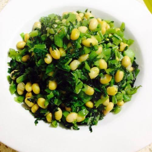 雪菜炒黄豆