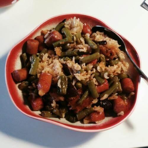 豆角腊肠焖饭