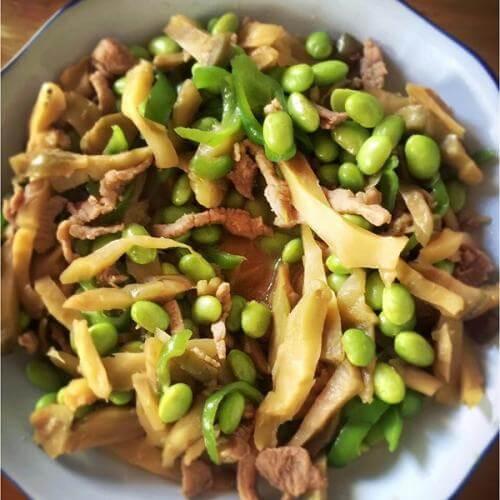 毛豆炒榨菜