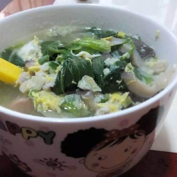 青菜蛋饺汤