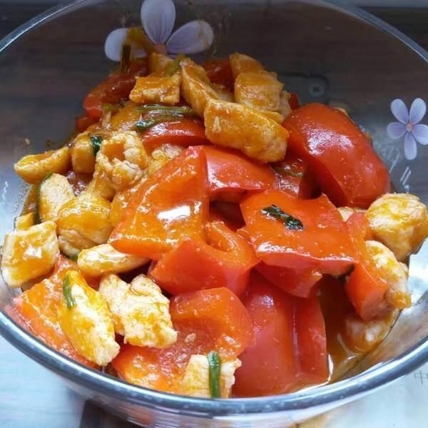 茄汁豇豆闷鸡丁