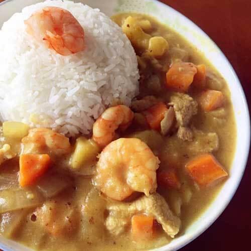 懒人版咖喱虾仁焖米饭