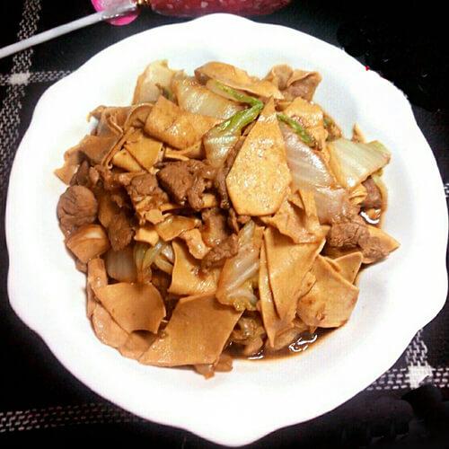 干豆腐炒白菜木耳
