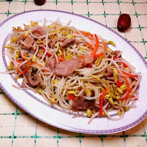 美味綠豆芽香炒里脊肉