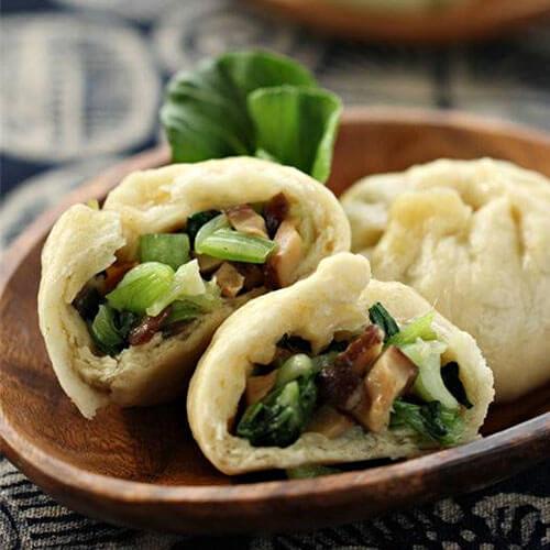 美味香菇青菜素煎包