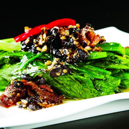 好吃的罐头豆豉炒油麦菜