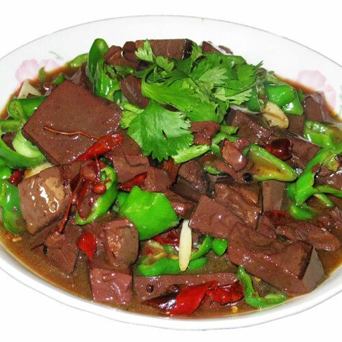 健康美味红烧猪血菠菜