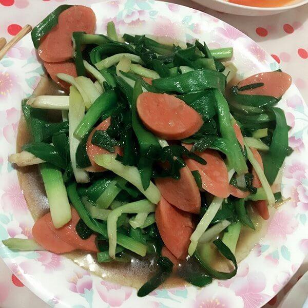 好吃的韭菜香肠丸烧