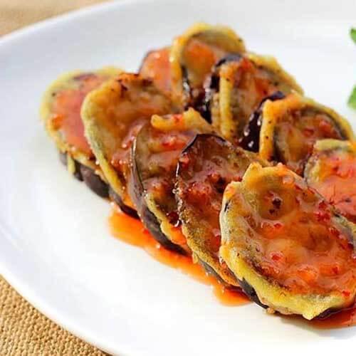 美味的油炸茄子片