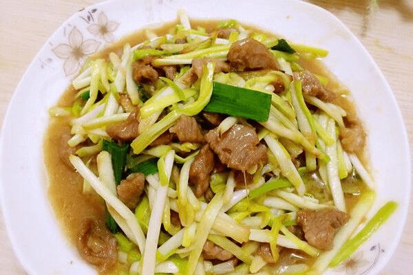 韭黄炒肉第十一步