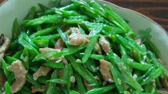 家常必做菜——四季豆炒肉,切丝比切段更美味!
