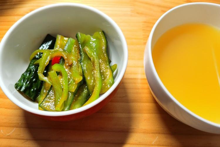 清新爽口的小咸菜,腌青尖椒黄瓜
