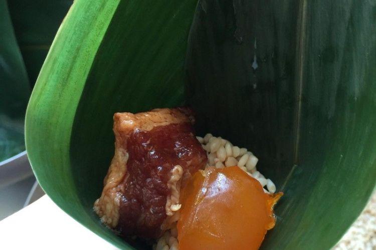 羊角粽的馅之蛋黄肉馅,保证用它包粽子超级好吃